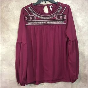 Red Camel Beaded Burgundy Top-Blouse Size Large